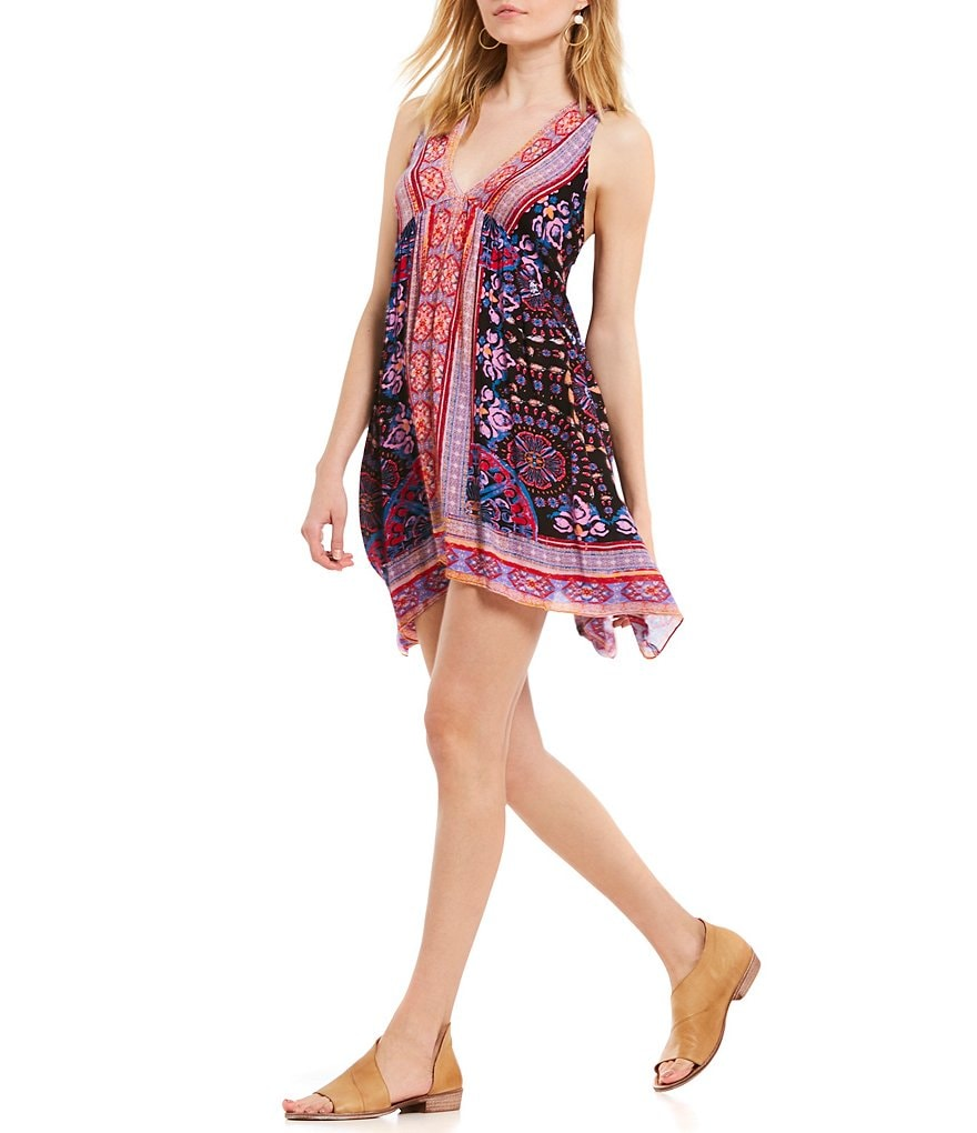 Free People Gypsey Trapeze Border Print Slip Dress