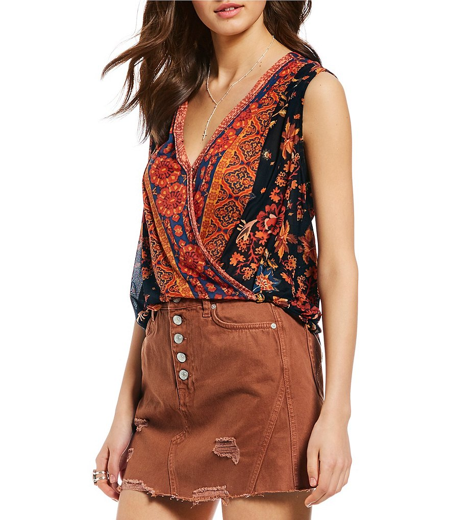 Free People Havana Muscle Printed Faux Wrap Style Blouse