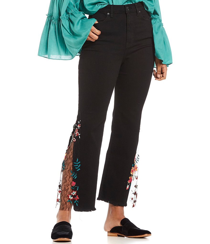Free People High Rise Embroidered Lace Flare Jean