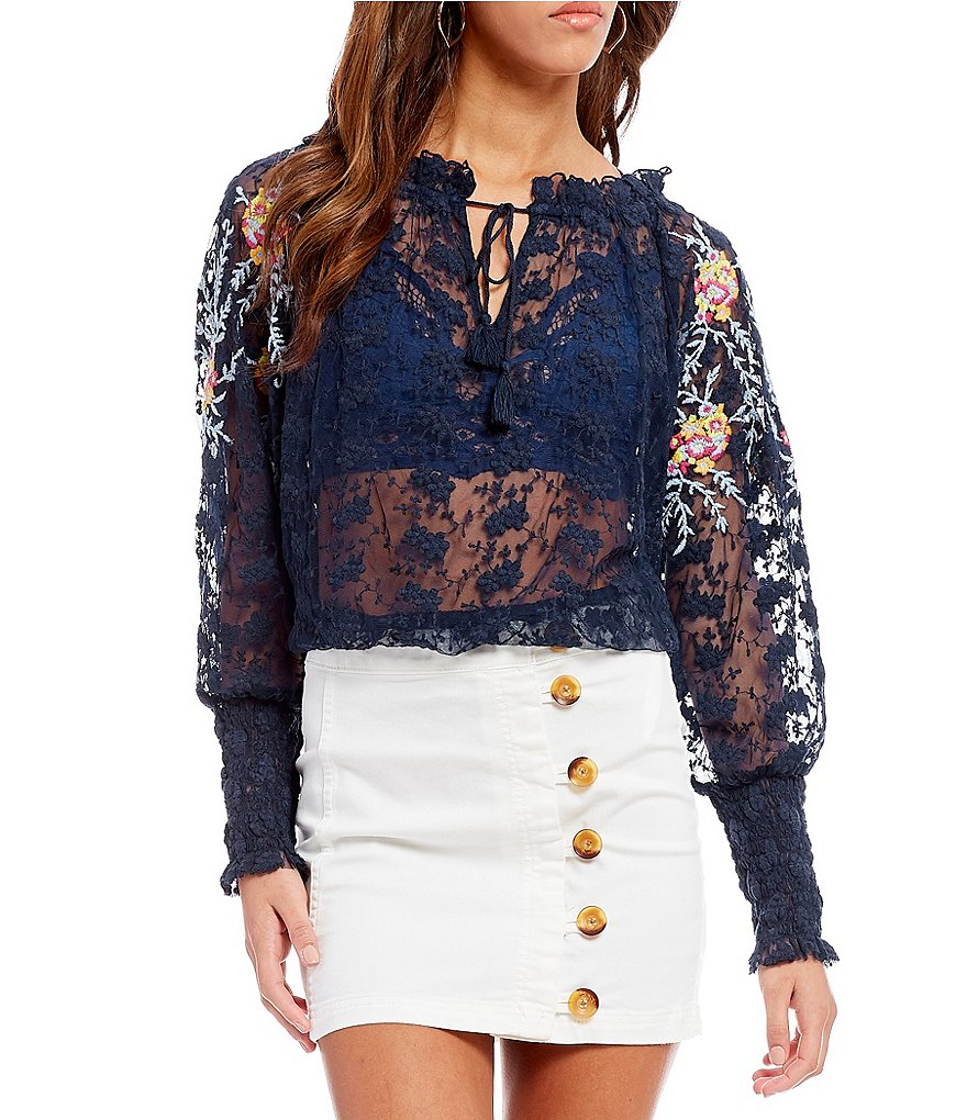Free People Jubilee Puff Gathered Sleeve Floral Lace Knit Peasant Top