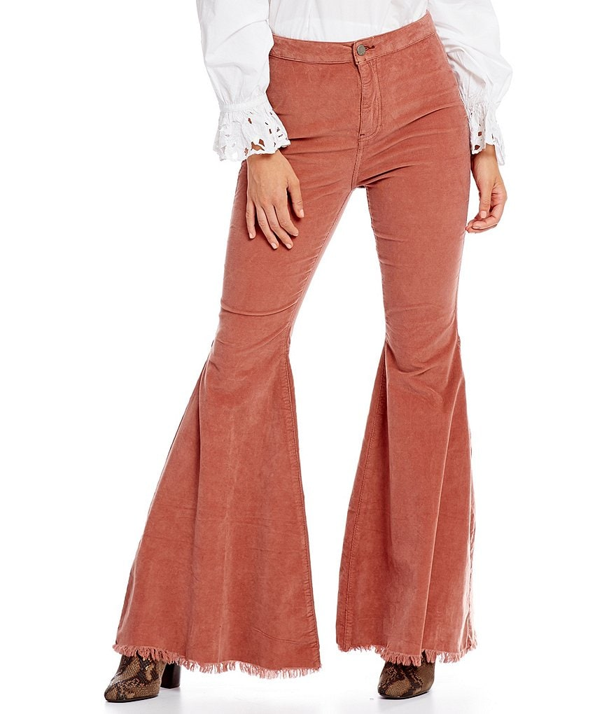 Free People Just Float On Cord Frayed Bell Flare Leg Pant