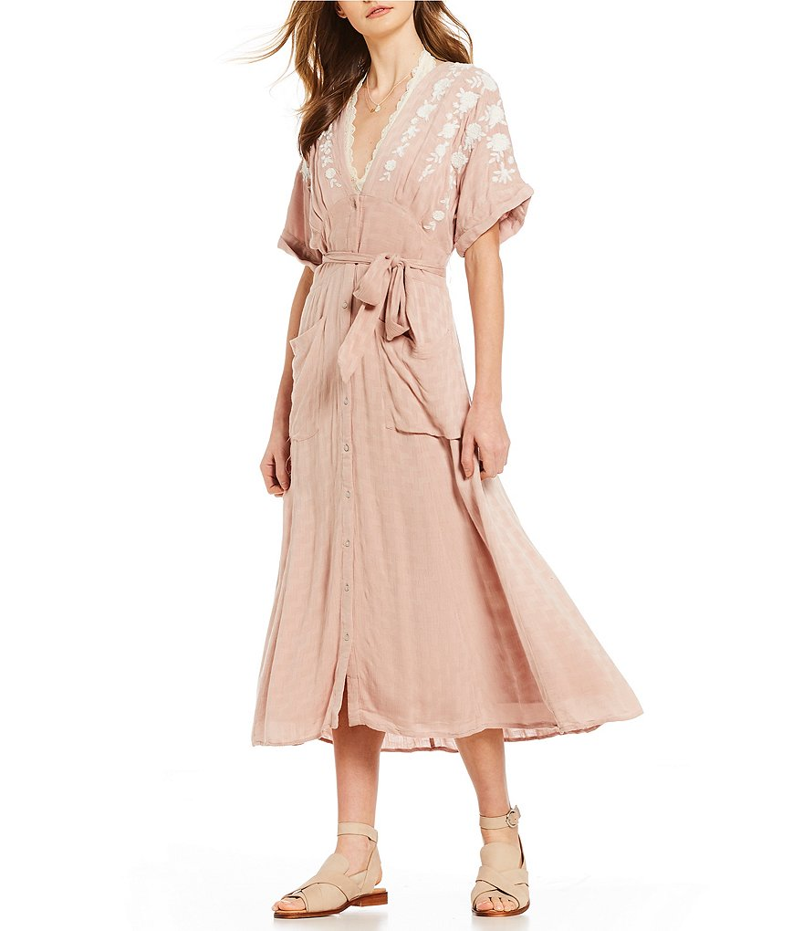 Free People Love to Love You Floral Embroidered Midi Dress