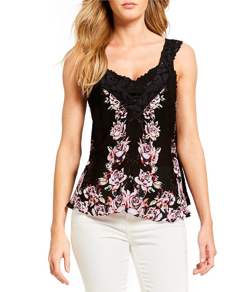Free People Morning Rose Floral Print Lace Trim Woven Top