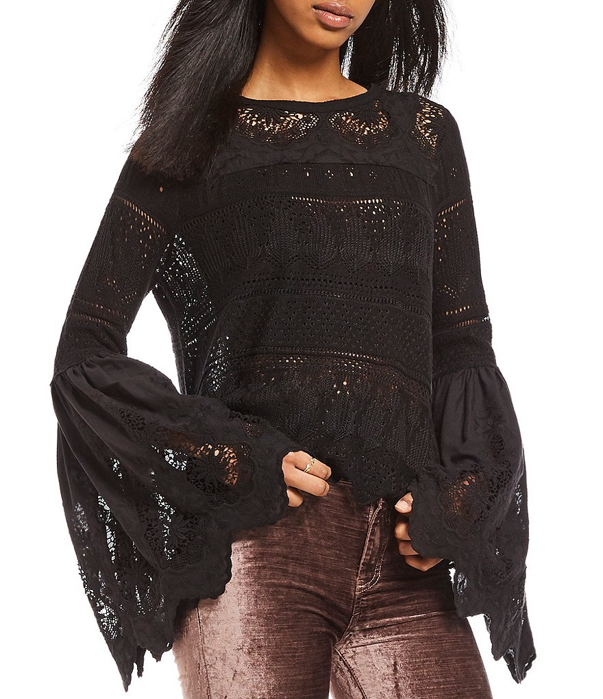Free People Once Upon A Time Bell Sleeve Peasant Top