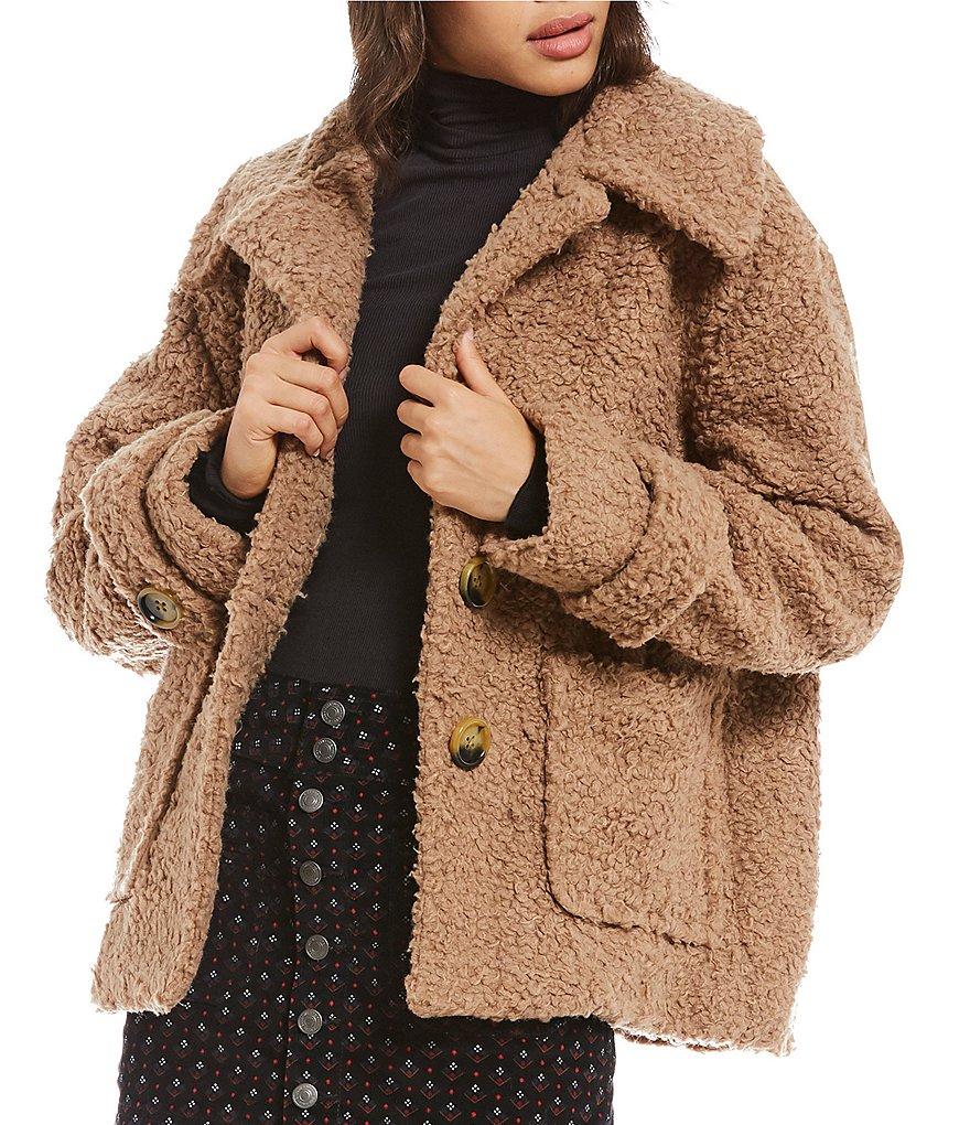 Free People So Soft Cozy Teddy Peacoat