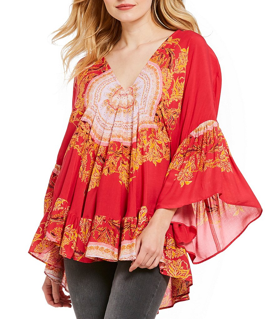 Free People Sunset Dreams Printed Peasant Top