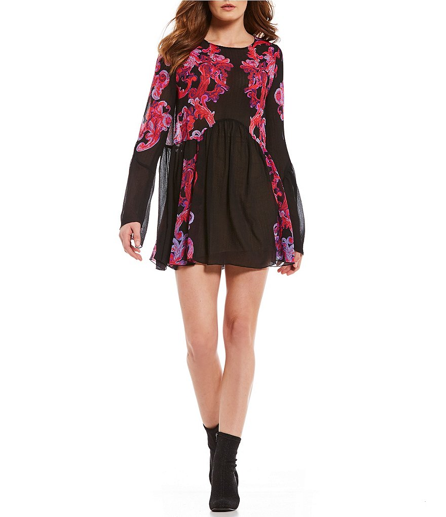 Free People Symphony Printed Bell Sleeve Slip Dress