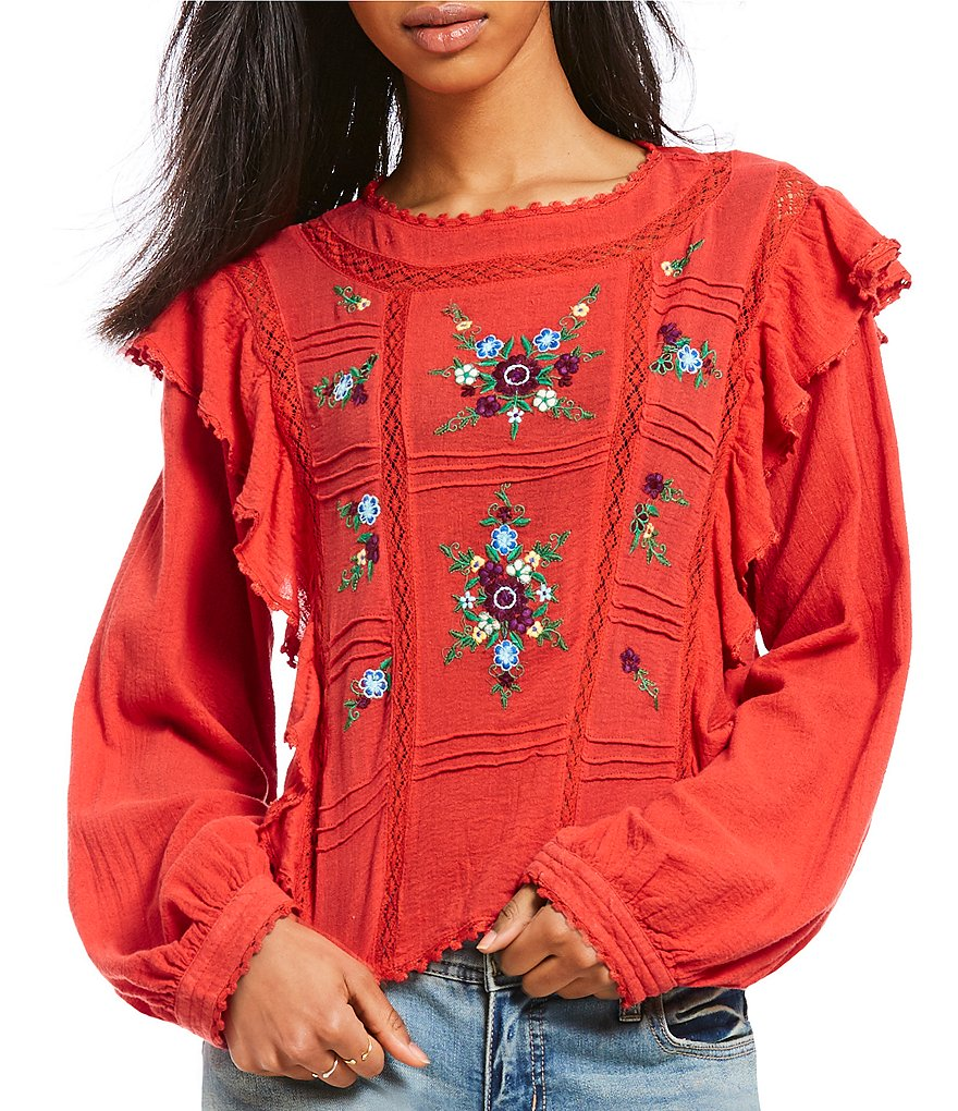 Free People The Amy Floral Embroidered Peasant Crop Top