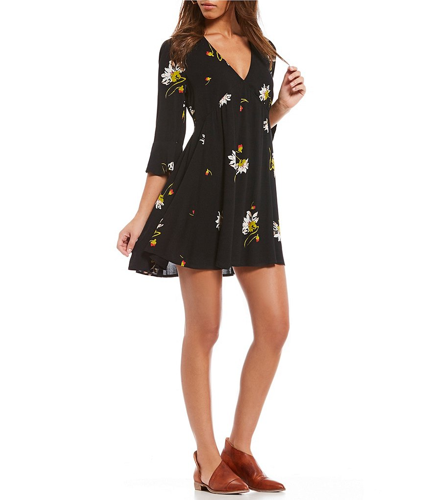 Free People Time On My Side Floral Mini Dress