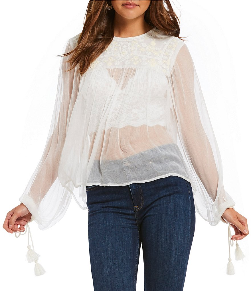 Free People Woven Retro Femme Blouse