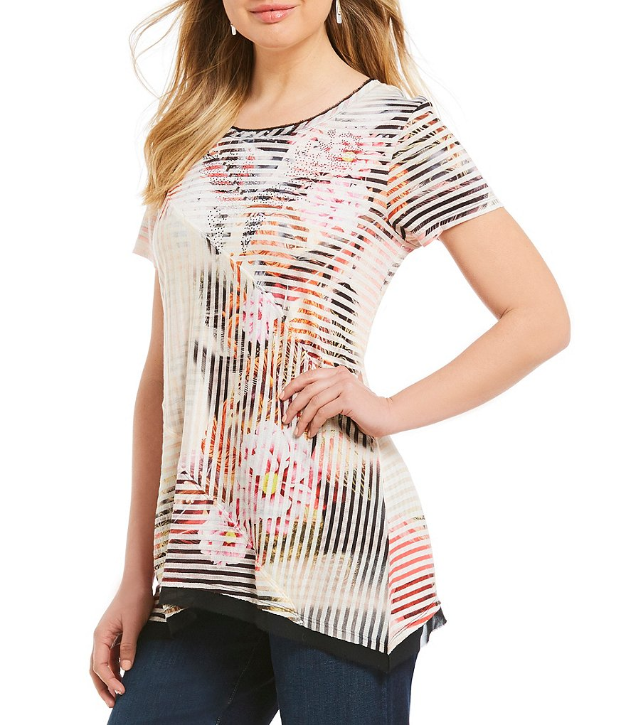 French Blue Floral Sublimation Print Scoop Neck Shadow Stripe Print Knit Top