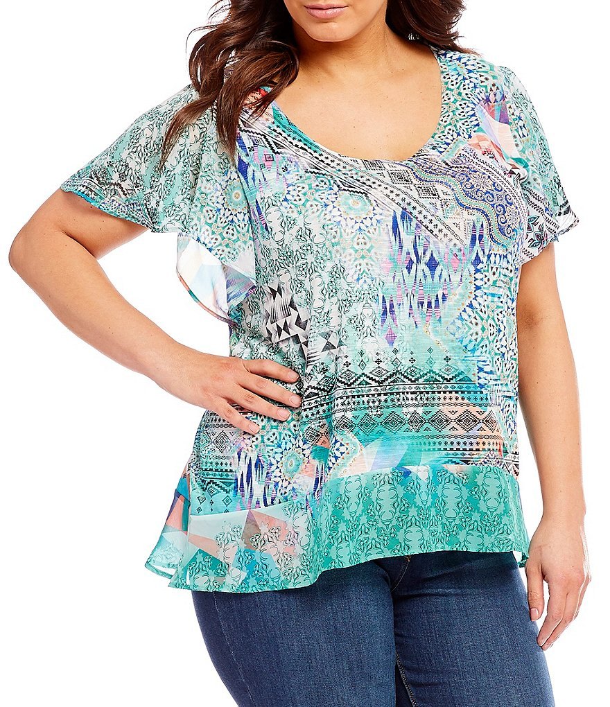 French Blue Plus Geo Print Mix Media Top