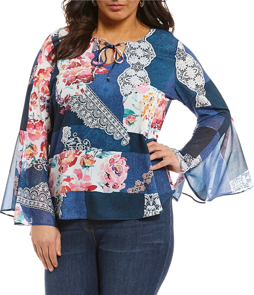 French Blue Plus Long Flare Sleeve Denim Blue Lace-Floral Print Blouse