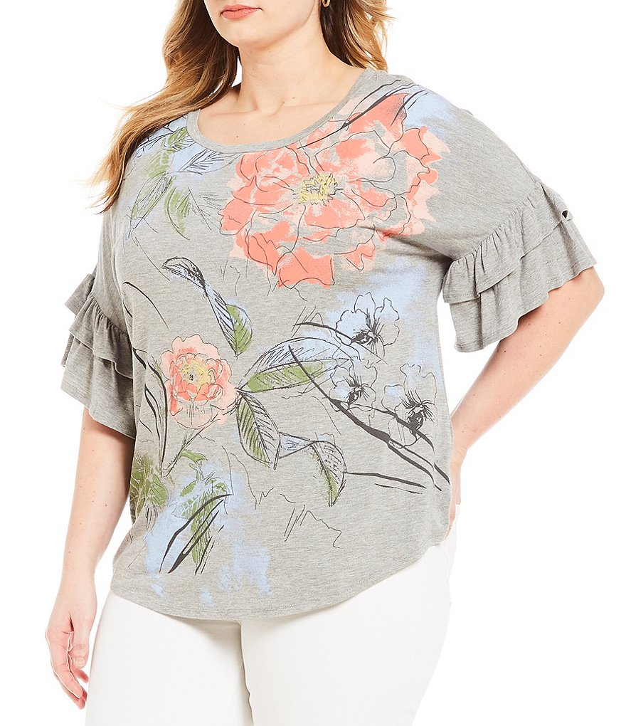 French Blue Plus Short Double Ruffle Sleeve Peach Blossom Print Top