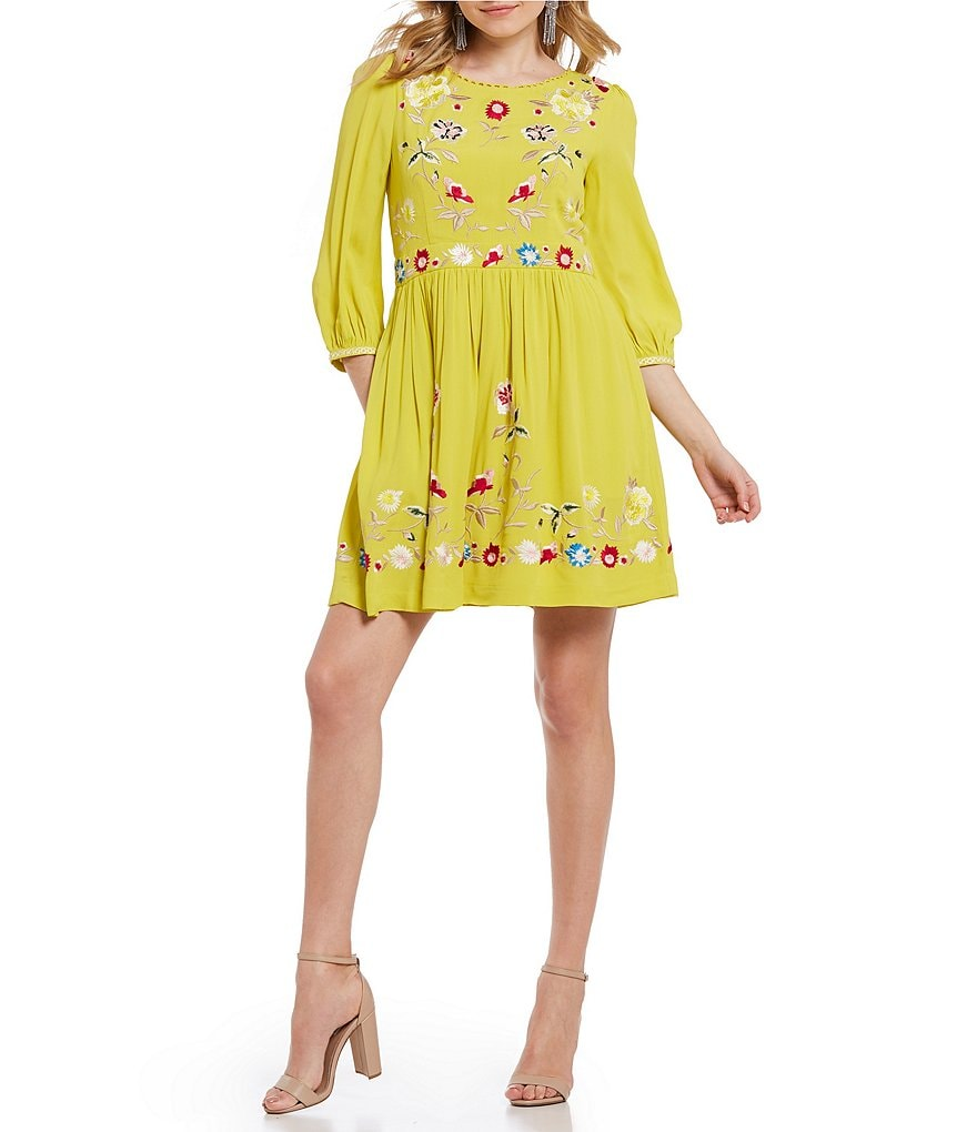 French Connection Saya Floral Embroidered Fit and Flare Dress