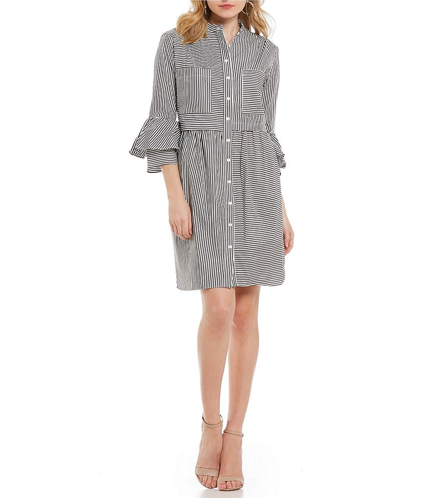 French Connection Summer Stripe Button Down Oversized Bell Sleeve Novelty Shirting Shirt Dress