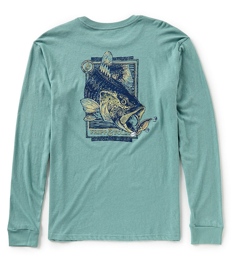 Fripp & Folly Men's Bass and Lure Long-Sleeve Graphic Pocket Tee
