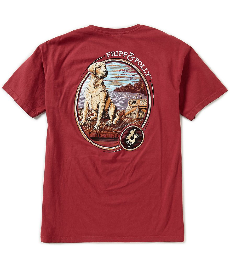 Fripp & Folly Men's Dog on Dock Short-Sleeve Graphic Pocket Tee