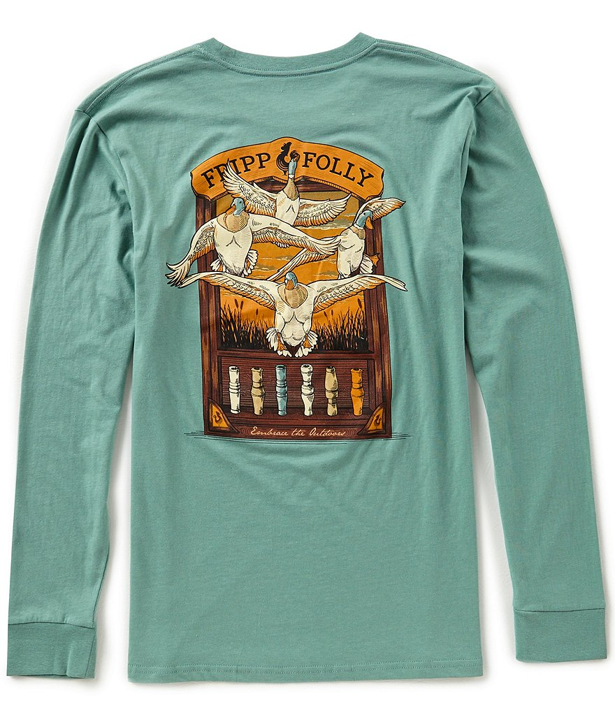 Fripp & Folly Men's Ducks and Duck Long-Sleeve Graphic Pocket Tee