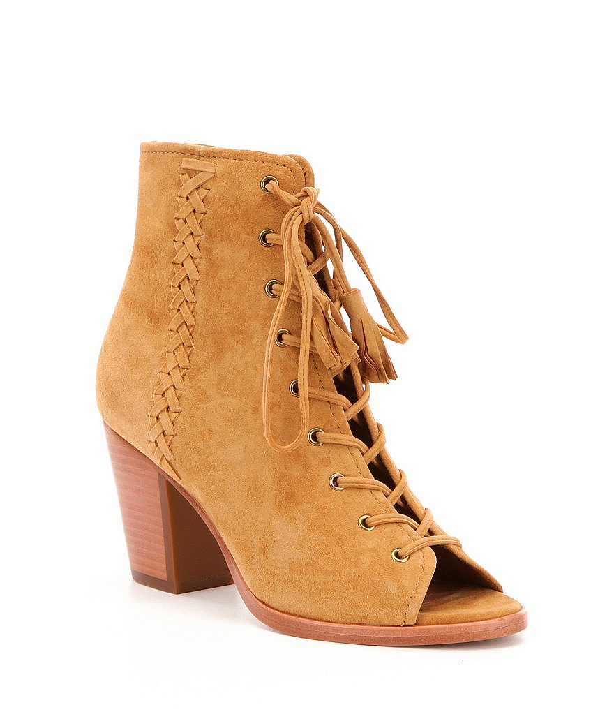 Frye Dani Suede & Leather Whipstitch Lace Up Peep-Toe Block Heel Shooties