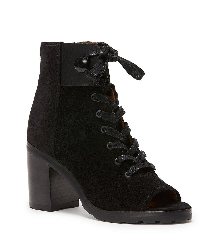 Frye Danica Lug Combat Suede and Leather Lace Up Peep-Toe Block Heel Booties