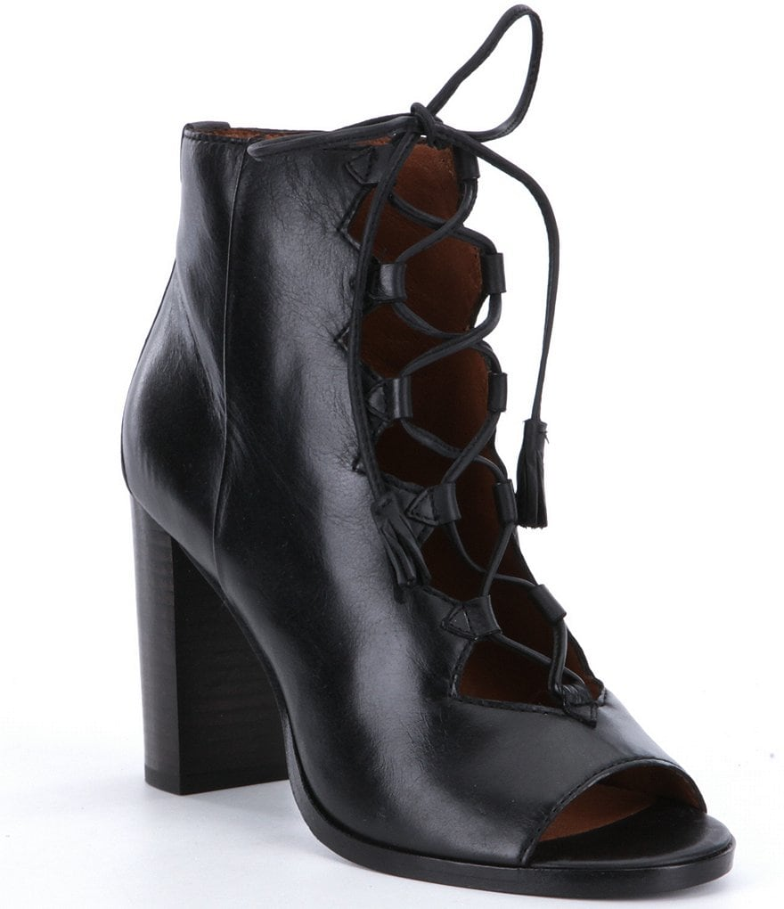 Frye Gabby Ghillie Leather Peep Toe Booties