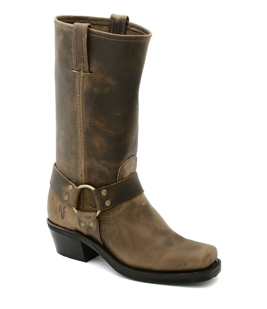 Frye Women's Harness 12R Leather Square-Toe Block Heel Boots
