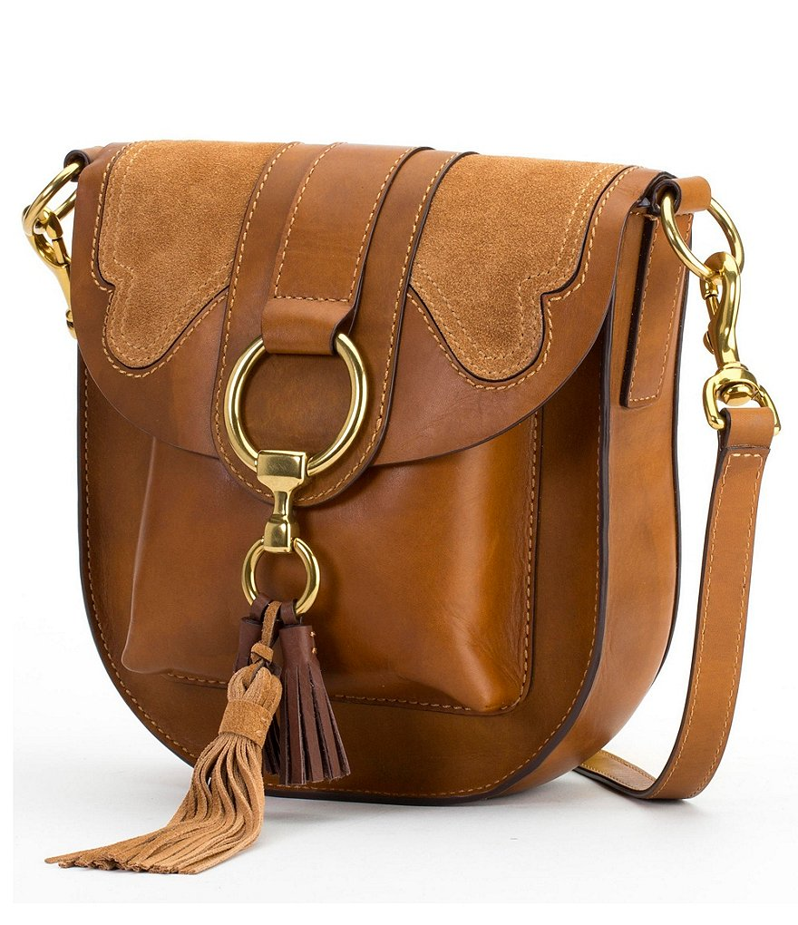 Frye Ilana Tasseled Suede-Appliquéd Saddle Bag