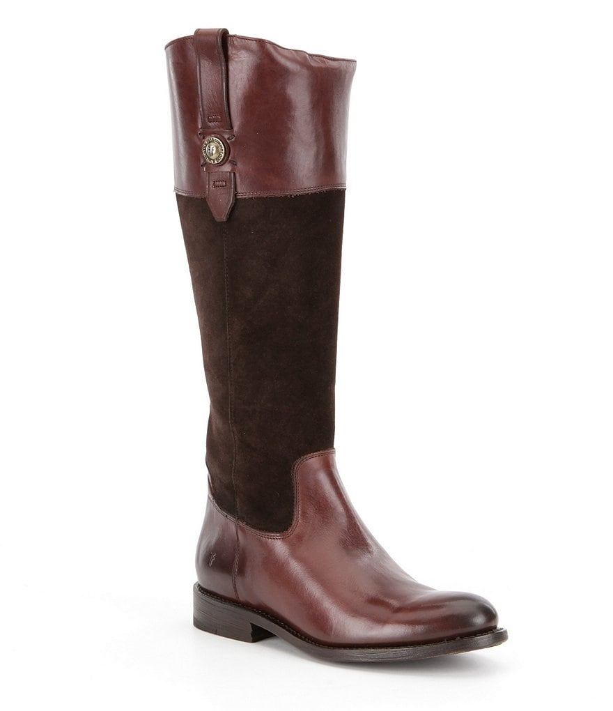 Frye Jayden Button Suede and Leather Tall Block Heel Riding Boots