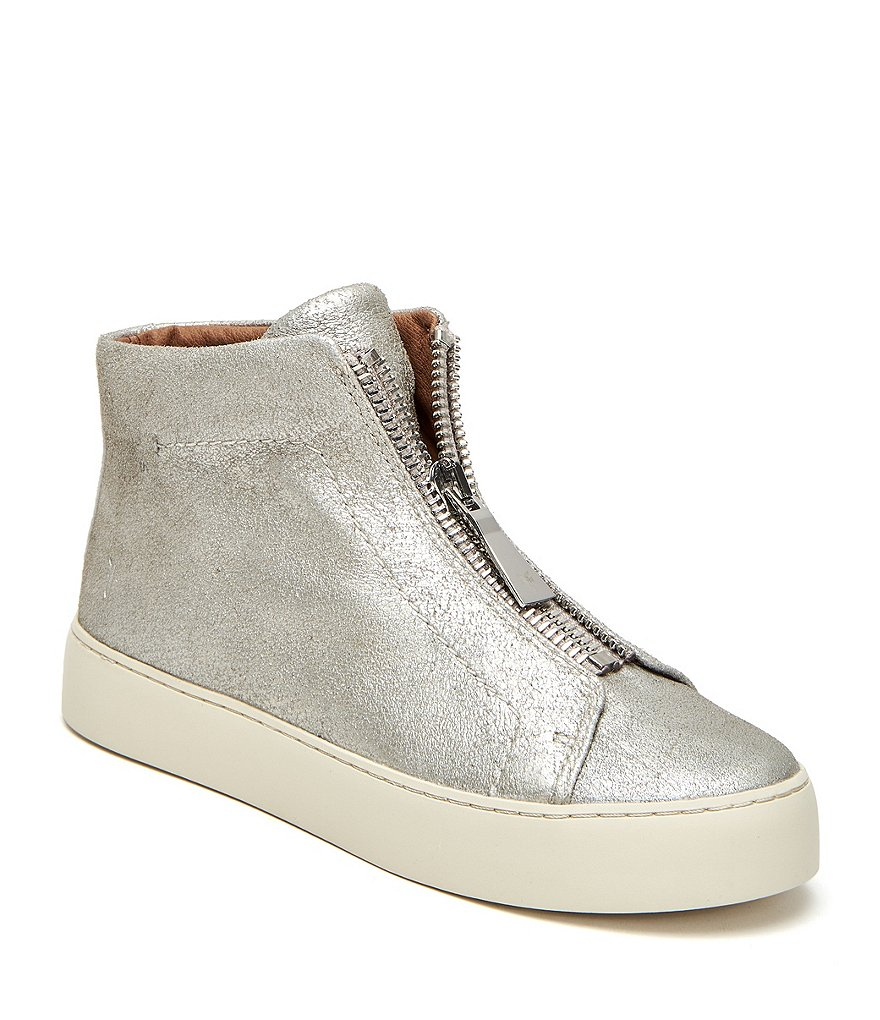 Frye Lena Metallic Suede Zip High Top Sneakers
