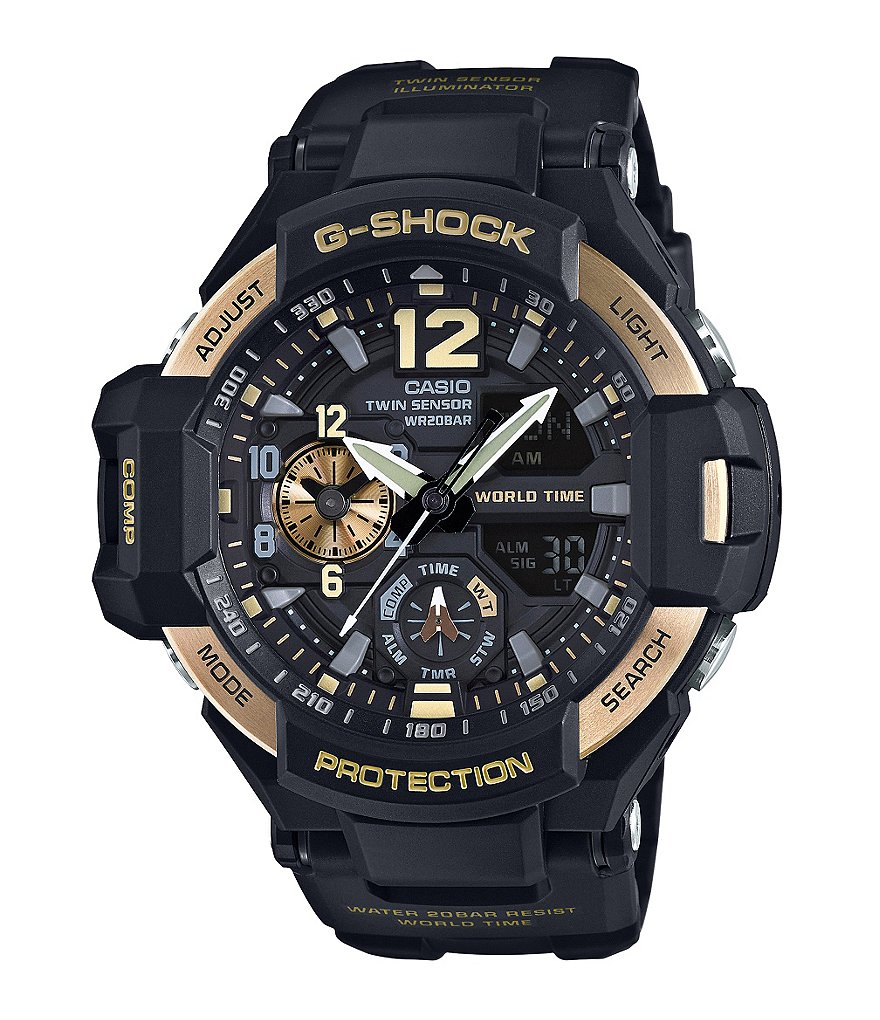 G-Shock Gravitymaster Resin and Stainless Steel Ana-Digi World Time Watch