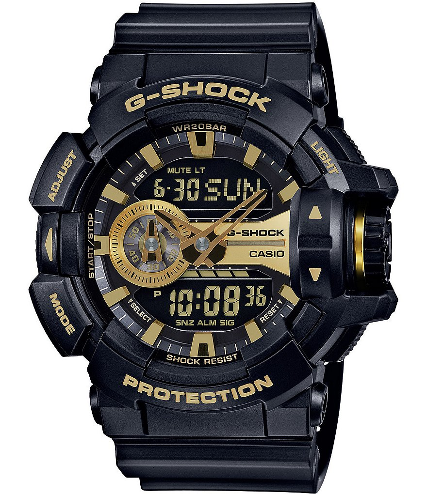 G-Shock Rotary-Dial Ana-Digi Resin and Stainless Steel World Time Watch
