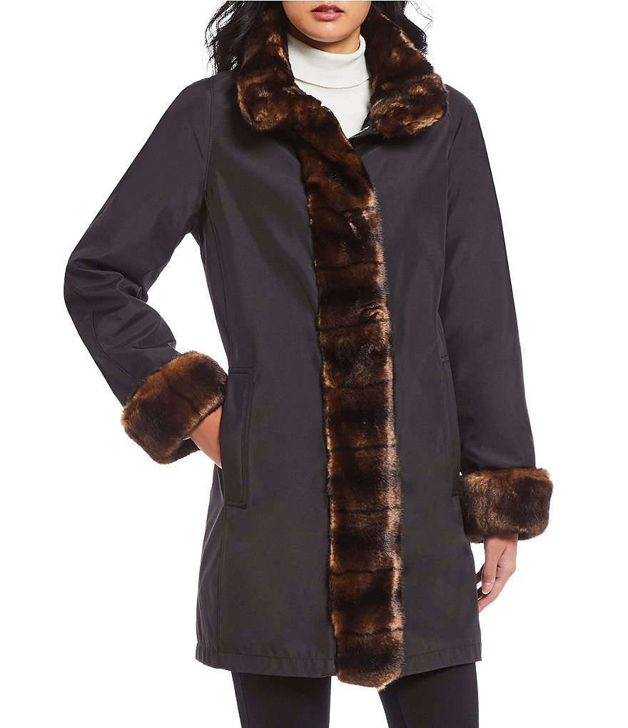Gallery Faux Fur Trimmed Storm Coat