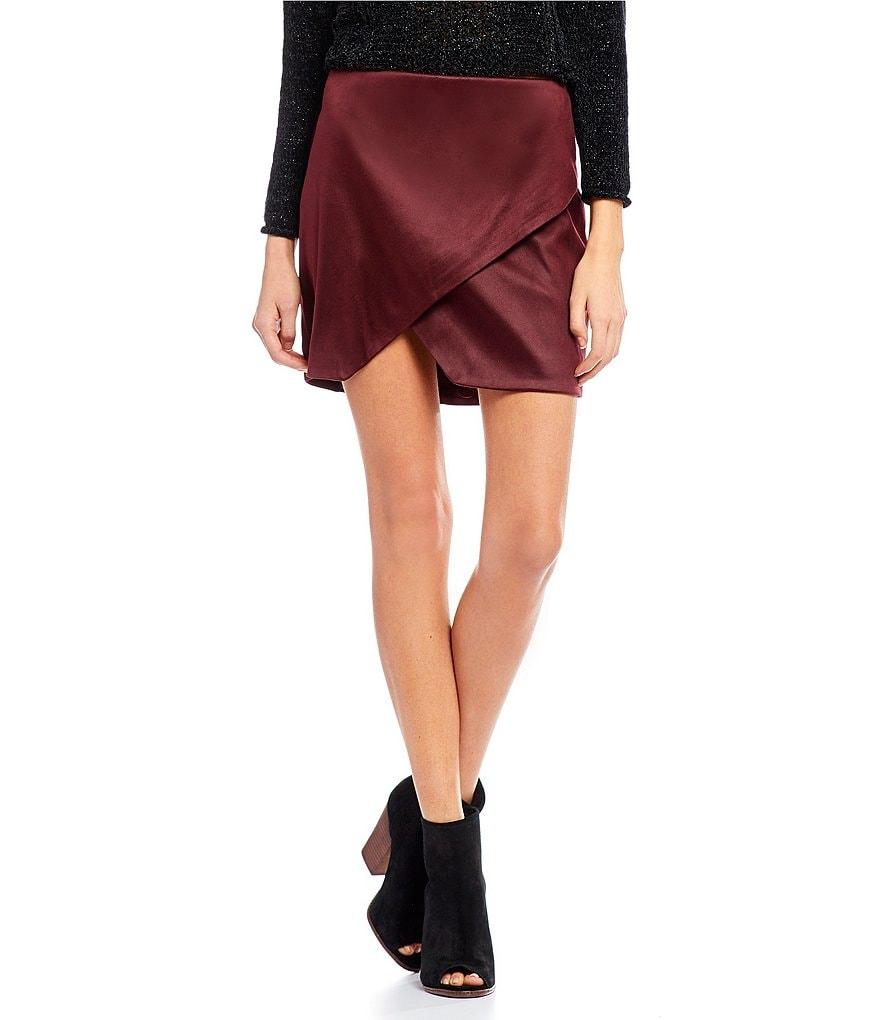 GB Asymmetric Wrap Faux Suede Skirt