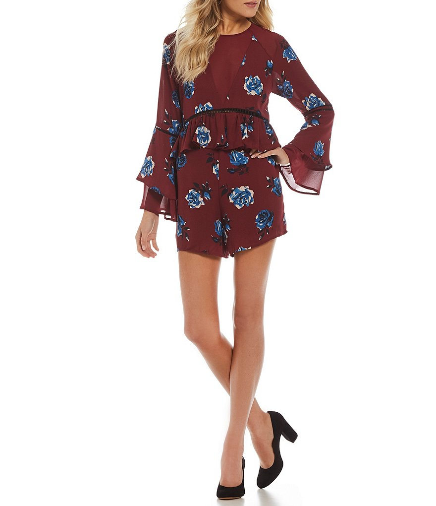 GB Bell Sleeve Floral Romper