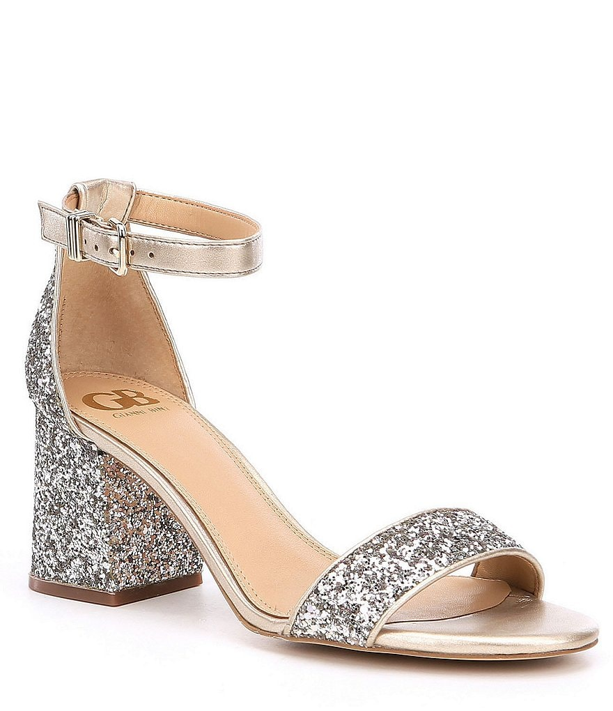 Gb Block Party Banded Glitter Ankle Strap Block Heel Dress
