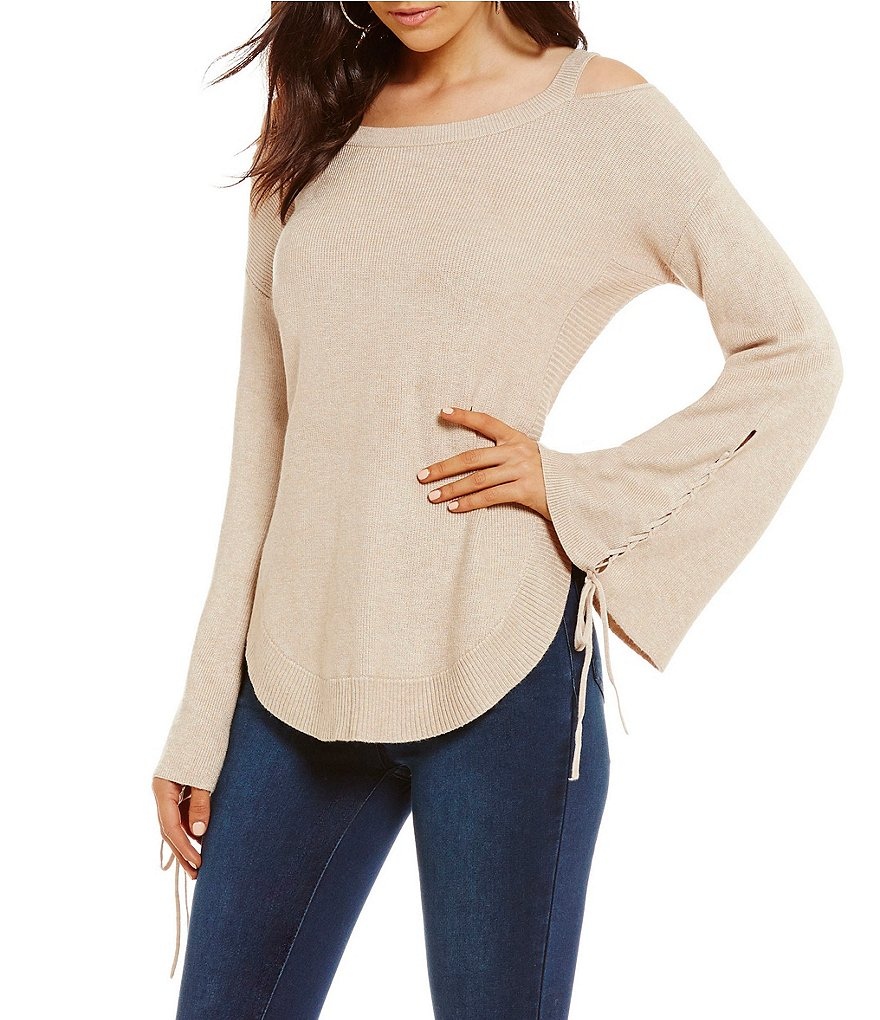 GB Cold Shoulder Bell Sleeve Sweater