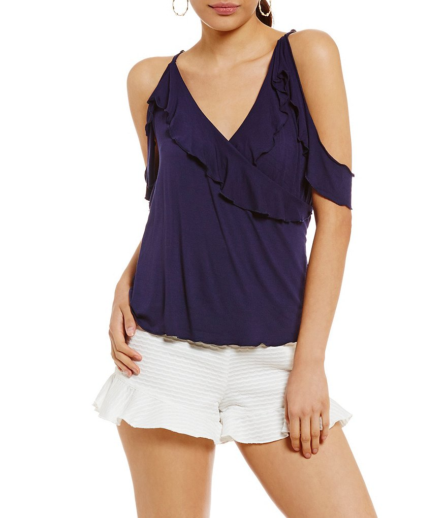 GB Cold Shoulder Ruffle Wrap Cold-Shoulder Knit Top