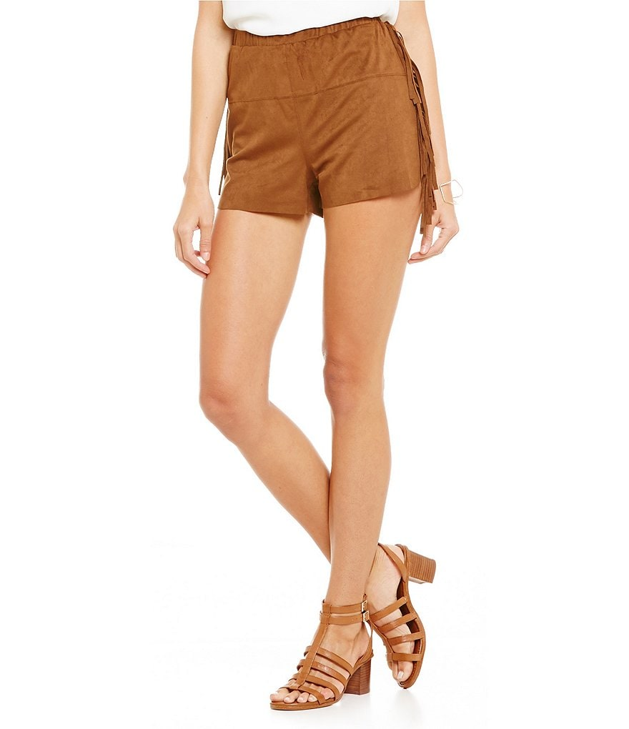 GB Faux-Suede Fringe Shorts