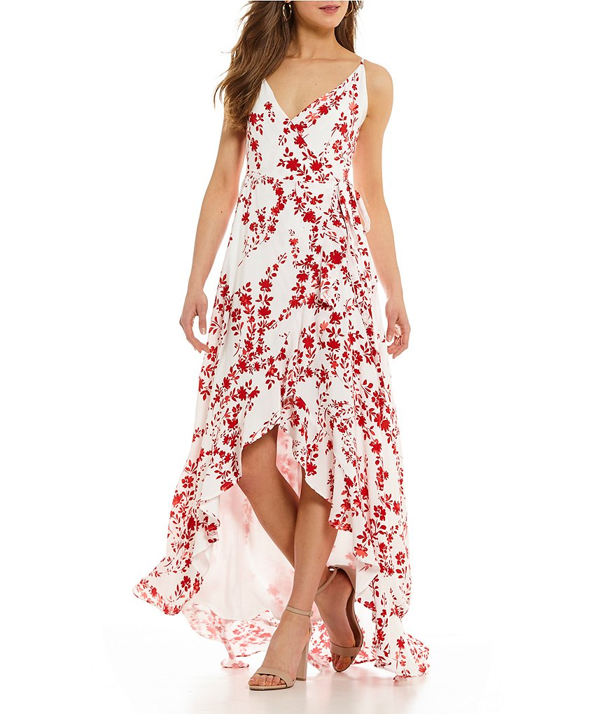 GB Floral High-Low Wrap Dress