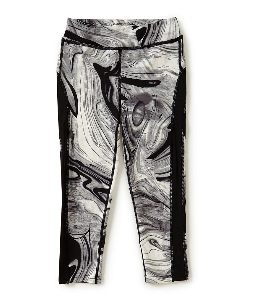 GB Girls Active Big Girls 7-16 Color Block Marble-Print Leggings