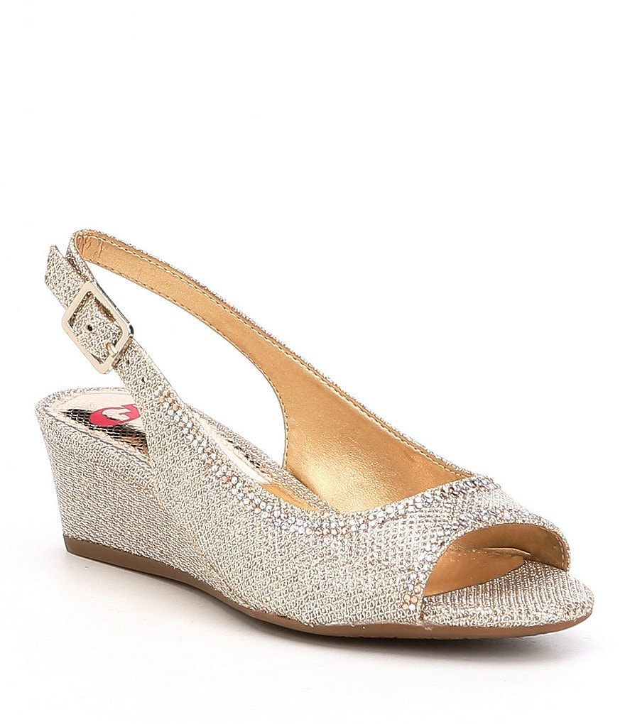 GB Girls Band-Girl Glitter Slingback Peep Toe Wedges