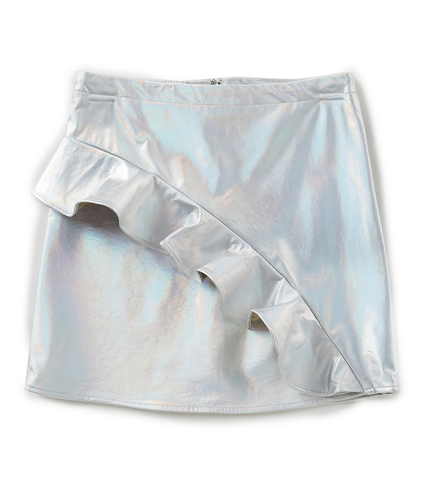 GB Girls Big Girls 7-16 Asymmetric-Ruffle Foiled Skirt