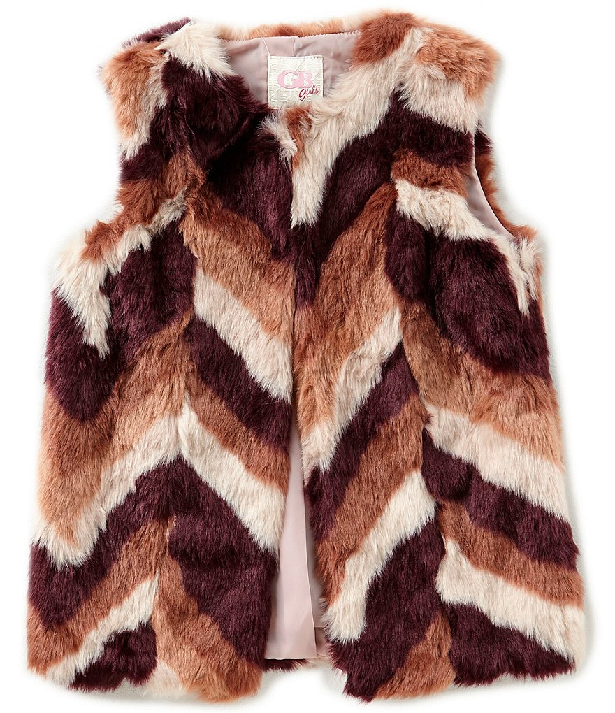 GB Girls Big Girls 7-16 Chevron Faux-Fur Vest