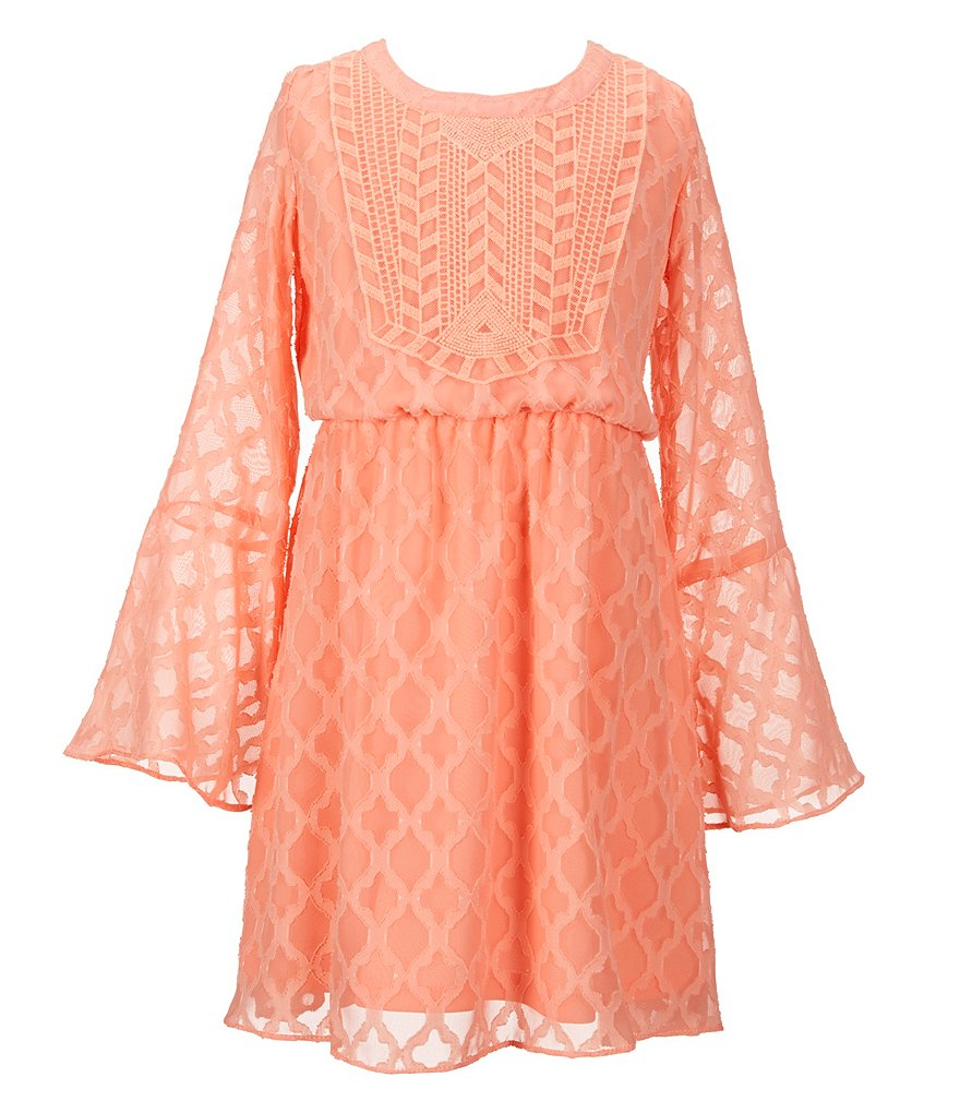 GB Girls Big Girls 7-16 Clipped Chiffon Bell Sleeve Peasant Dress