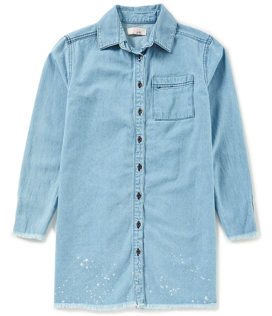 GB Girls Big Girls 7-16 Frayed Button-Front Chambray Top