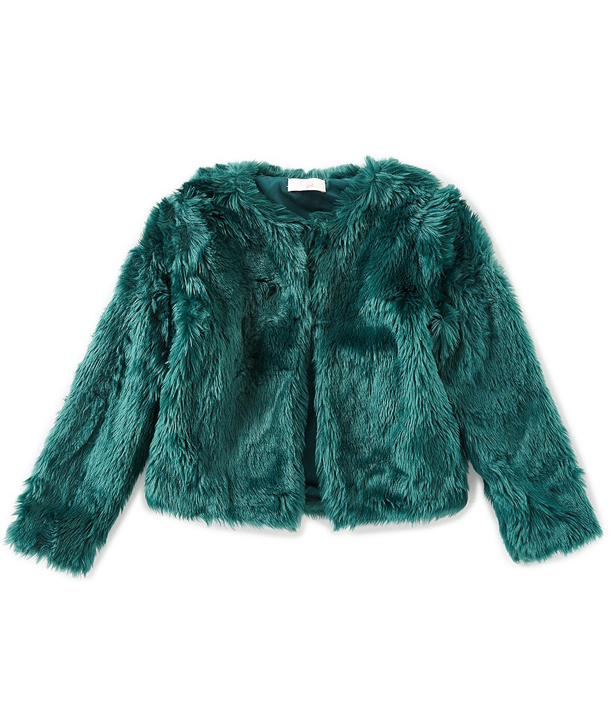 GB Girls Big Girls 7-16 Jewel-Tone Faux-Fur Jacket