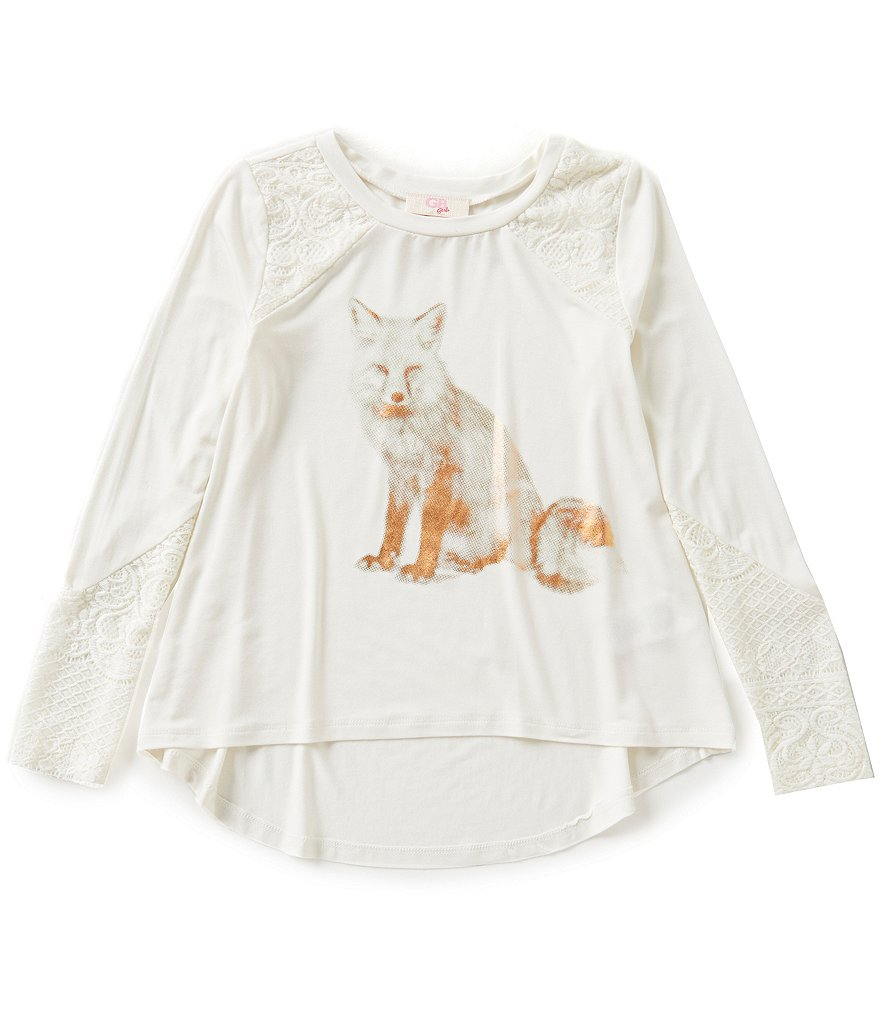 GB Girls Big Girls 7-16 Lace-Panel Fox Tee