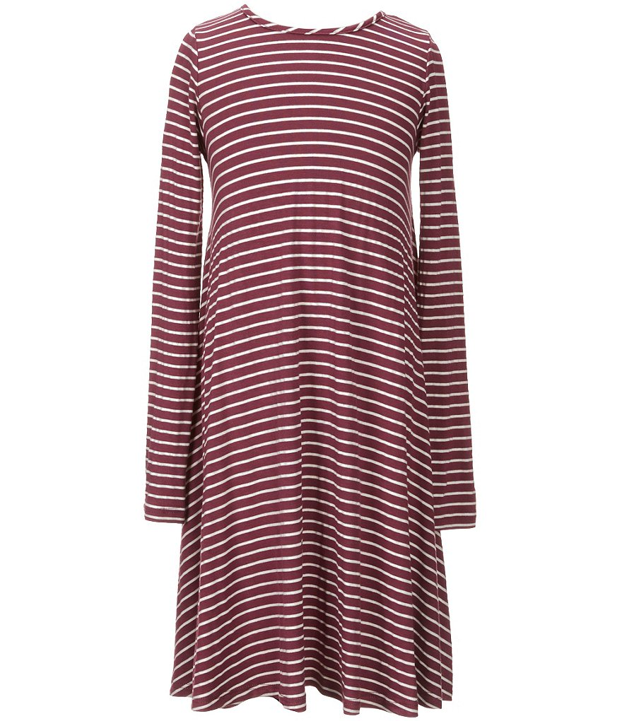 GB Girls Big Girls 7-16 Long Sleeve Stripe Swing Dress
