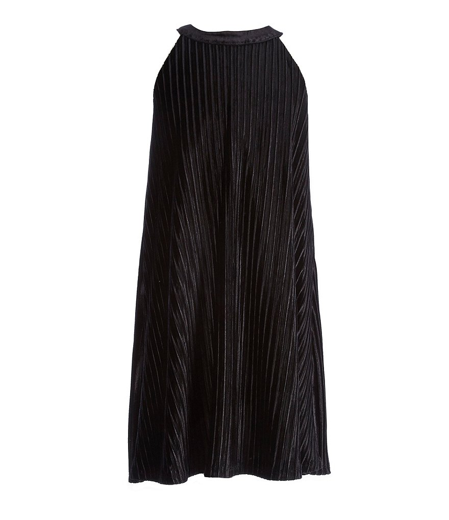 GB Girls Big Girls 7-16 Pleated Velvet Swing Dress